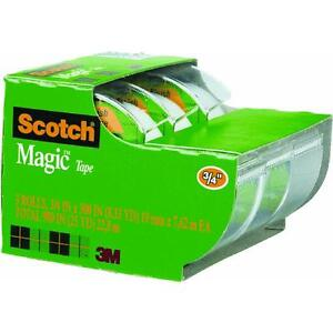6 Pk 3m 3 4 X 300 Clear Scotch Magic Transparent Tape 3 pk W dispenser 3105