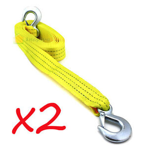 Lot 2 2 X20 Tow Strap With Forged Hooks 2 X 20 10000lbs Towing Rope Auto Boat