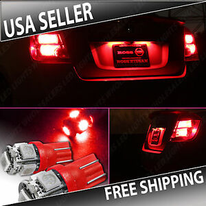 1 Pair Red Led License Plate Light Bulbs Bulb Smd T10 194 168 W5w Wedge
