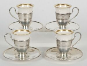 Sterling Silver Tiffany Co 4pc Demitasse Cup Saucer Set Lenox W Porcelain Liners