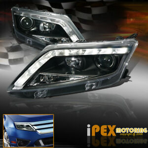 2010 2011 2012 Ford Fusion S Se Sel Ultra Led Drl Bar Projector Headlights Black