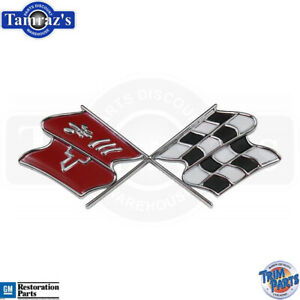 1968 Only Corvette Cross X Flag Fuel Gas Door Lid Emblem Made In The Usa New