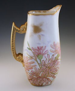 Victorian 1891 T V Limoges Pitcher Hand Painted Dated And Signed By The Artist