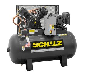 Schulz Air Compressor 7 5hp 3 Phase horizntal 80 Gal Tank 30cfm 175 Psi