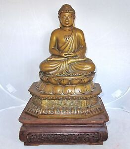 15 5 Antique Chinese Bronze Buddha On Lotus Qilin Pedestal With Wood Stand