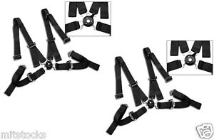 2 X Black 4 Point Camlock Quick Release Racing Seat Belt Harness 2 All Dodge