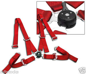 1 Red 4 Point Camlock Quick Release Racing Seat Belt Harness 2 Mustang Cobra