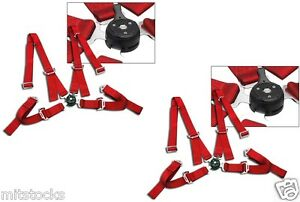 2 X Red 4 Point Camlock Quick Release Racing Seat Belt Harness 2 Fit For Nissan