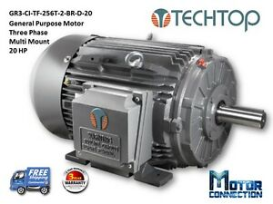 20 Hp Electric Motor Gen Purp 3600 Rpm 3 phase 256t Cast Iron Nema Premium