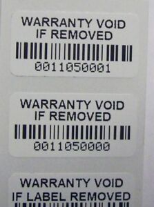 1000 Destructible Vinyl Warranty Void Barcode Security Label Sticker Seals