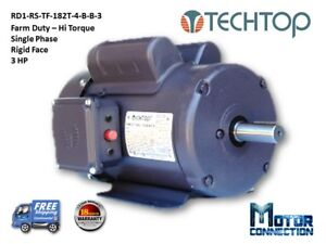 3 Hp Electric Motor Farm Duty 1800 Rpm Single Phase Rigid Base 182t
