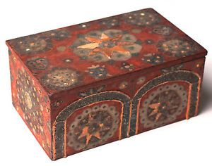 Antique Polychrome Painted Box Coffret Casket Early 19th C Or Earlier 5