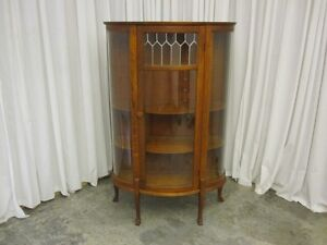 Antique China Curio Cabinet Hutch W Leaded Glass Panel Curved Sides Sawn Oak