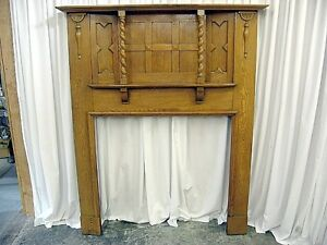 Large Antique Oak Fireplace Mantel With Mix Of Arts Crafts Modern