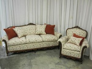 Antique Sofa Chair Set Classic French Style Fresh Upholstery W Throw Pillows