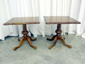 Vintage Set Maple Pedestal Lamp Tables Coffee Table Queen Anne Style Sturdy Nice