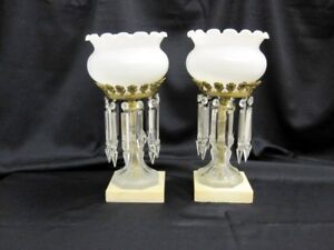 Matching Pair Antique Lustre Luster Lamps W Prisms