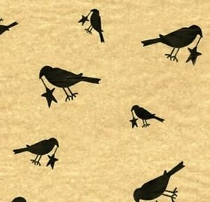 Primitive Tissue Gift Wrap Paper Country Black Crow With Star 10 Sheets Kraft