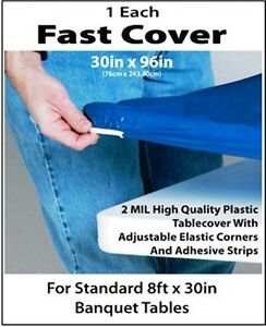 12 BLUE FAST COVER 8 FT. FITTED PLASTIC TABLECLOTHS TABLE COVER SAVE 50% PICNIC $41.70