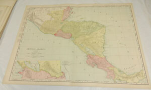 1908 Rand Mcnally Map Of Central America Panama Huge 20 5x28 Includes Index