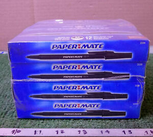 12 New Boxes Paper mate 33311 Black Ink Capped Ball Point Pens 12 Pens Per Box