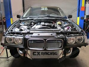 Gt35 Turbo Kit Manifold Downpipe Intercooler For 92 98 Bmw E36 Top Mount Black