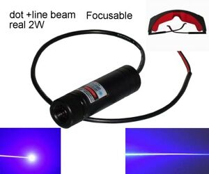 Focusable Real 2w 445nm 450nm Blue Laser Module Engraving Dot Beam Line Beam