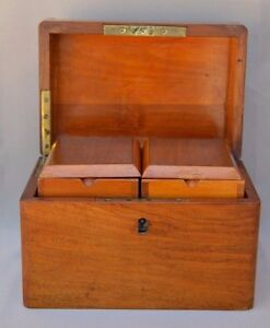 French Antique Mahogany Wood Double Tea Caddy Box 19th