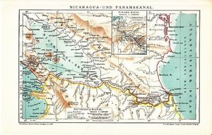 1899 Nicaragua And Panama Canal Antique Map