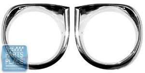 1962 64 Chevrolet Nova Chevy Ii Headlamp Light Bezels Pair