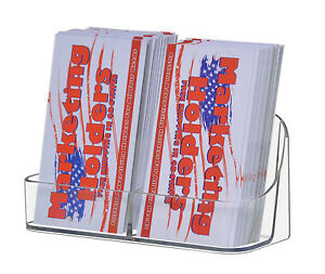 Lot Of 24 Clear 2 Pocket Business Card Holders Vertical Desk Top Gift Cards
