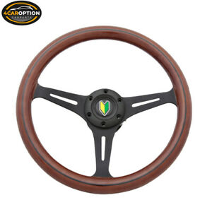 14 Inch 350mm Wooden Steering Wheel Black Trim Classic Wood Grain Sport Spoke