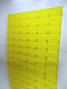 48 Pocket Transparent Yellow W Clear Business Card Holder Acrylic Wall Rack