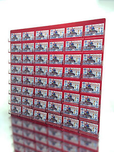 48 Pocket Transparent Red W Clear Business Card Holder Acrylic Wall Display Rack
