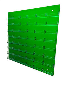 48 Pocket Business Card Holder Acrylic Wall Mount Transparent Green W Clear