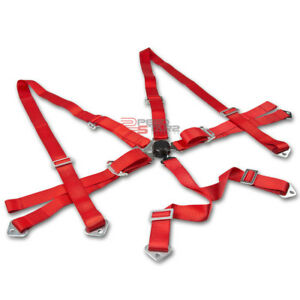 6 point 3 Red Nylon Shoulder Strap Racing Buckle Seat Belt Harness Camlock