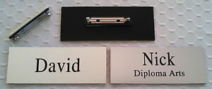 Employee Name Tags Custom Engraved Smooth Silver W Pin Attachment 1 25 X 3 25