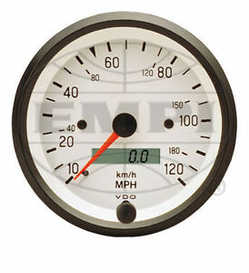 Vw Bug Air Cooled Vdo White Cockpit Speedometer 120 Mph 3 3 8 437202