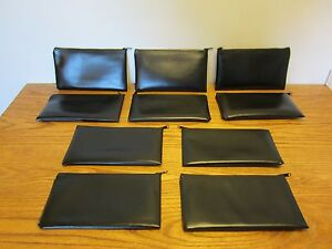 10 Black Vinyl Zipper Bank Bags Money Jewelry Pouch Coin Currency Wallet Coupons