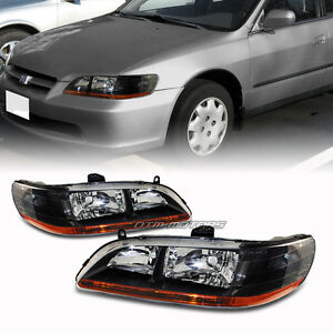 Black Housing Headlight Lamps With Amber Reflector For 1998 2002 Honda Accord