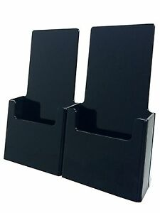 Twin Black Tri Fold Literature Brochure Holder For 4 X 9 Lot Of 24