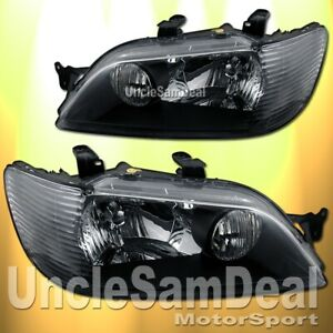 02 03 Mitsubishi Lancer Factory Look Clear Lens Black Headlights Direct Fit Pair