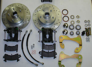 1955 1957 Chevrolet Front Disc Brake Changeover Kit Drilled And Slotted Rotors