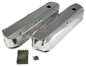 62 85 Sbf Ford 289 302 351w Long Bolt Polished Fabricated Aluminum Valve Covers