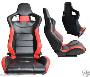 2 Black Red Leather Racing Seats Reclinable Sliders Volkswagen New