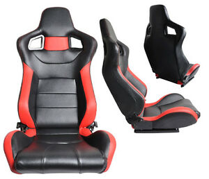 1 Pair Black Red Pvc Leather Racing Seats Reclinable W Sliders