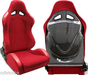 New 2 Red Carbon Back Cover Racing Seats Reclinable W Slider Bmw