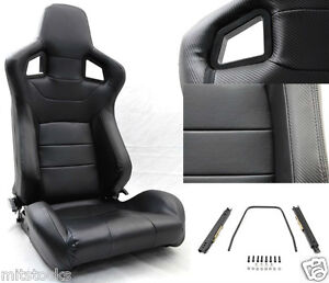 New 2 Black Pvc Leather Carbon Look Trim Racing Seat Reclinable Sliders Bmw