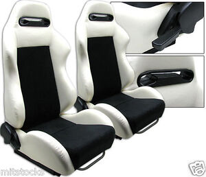 1 Pair White Black Racing Seat Reclinable W Slider All Ford