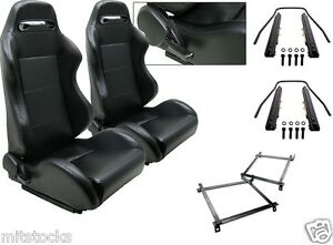 2 Black Leather Racing Seats Reclinable Slider Brackets Honda Civic 93 94 95